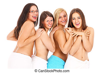Young women group - a group of young topless women in towels