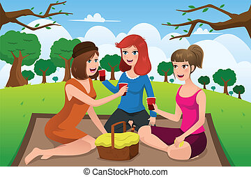 Young women having picnic in a park - A vector illustration...
