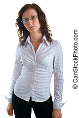 women in a business suit and glasses