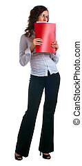 women in a business suit with a folder in hands