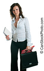 women in a business suit with documents