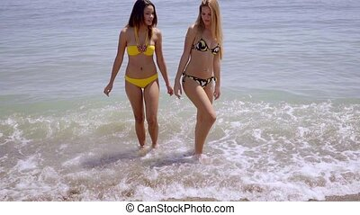 Young women in bikinis approaching the sea as they prepare...