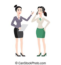 young women in elegant office clothes vector