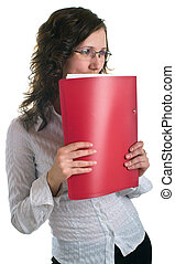 women in glasses with a folder