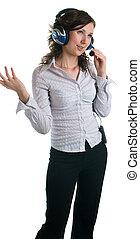 women in headphones