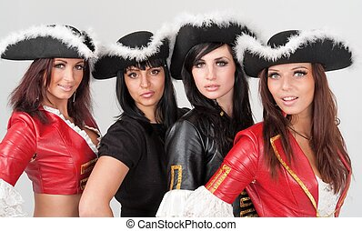 young women in pirate costumes