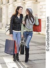 Young women in shopping