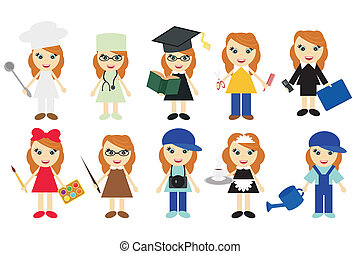 young women of ten different jobs on white background vector