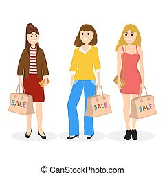 Young women on a shopping sale with a bag