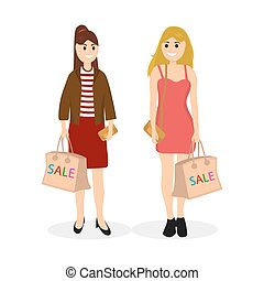 Young women on a shopping sale with a bag vector