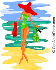 Young women on the beach - vector illustration.