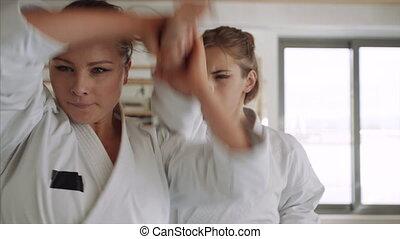 Young women practising karate indoors in gym.