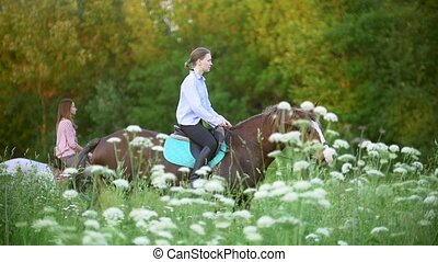 Young women riding on horses through the meadow at sunset,...