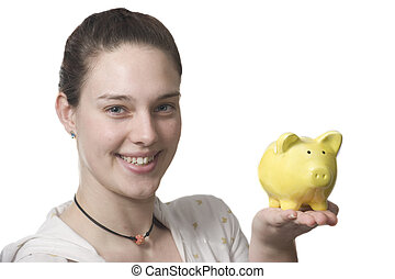young women saves money