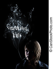 young women smokes and in the smoke appears