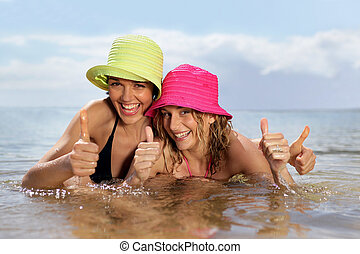 Young women swimming