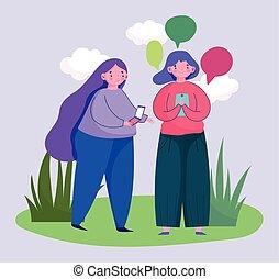 young women using smartphone speech bubble talking