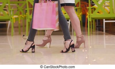 Young women walk with purchases in the mall.