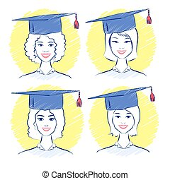 Young women wearing graduation cap.