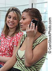 Young women with a cellphone