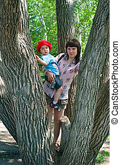 women with a little boy