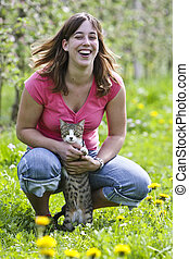 young women with cat