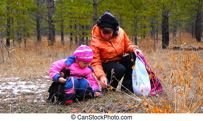 Young women with daughter picking up plant leaves in the autumn forest.