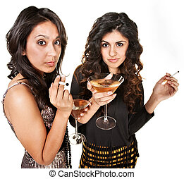 Young Women with Drinks