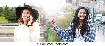 young women with mobile phone to outdoor fashion