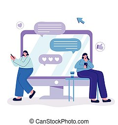 young women with smartphone and coffee cup, speech bubbles chatting