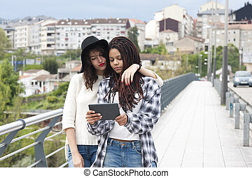 young women with tablet