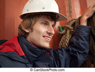 Young worker in hard hat