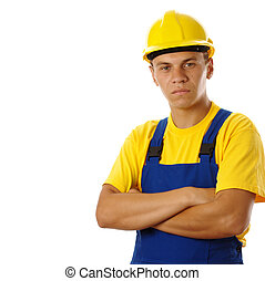 Young worker wearing hard hat