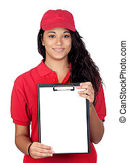 Young worker with red uniform
