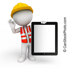 Young worker with tab - Illustration of young worker with ...