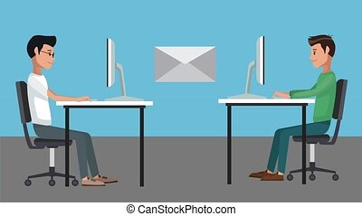 Young workers at office HD animation