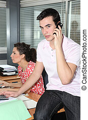 Young workers in office