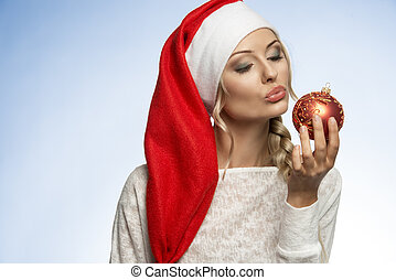 young xmas blond girl