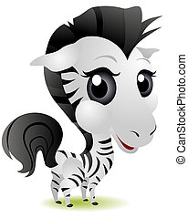 Young Zebra with Clipping Path