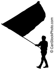 Younge man with flag - Younge man with large flag on street