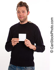 Youngster with blank card