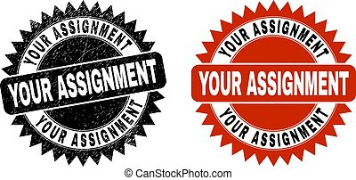 YOUR ASSIGNMENT Black Rosette Stamp with Grunged Texture