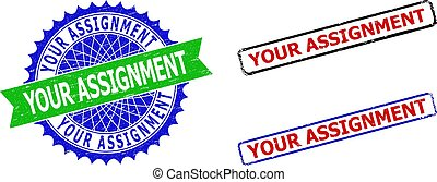 YOUR ASSIGNMENT Rosette and Rectangle Bicolor Stamps with Unclean Styles