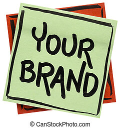 your brand word abstract on sticky note