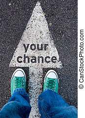 Your chance - Green shoes standing on your chance sign