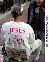 Your going to hell! - Image of a man with religious signs on...