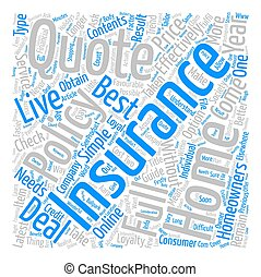 Your Guide To The Home Insurance Quote Word Cloud Concept Text Background