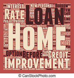 Your Home Improvement Loan text background wordcloud concept