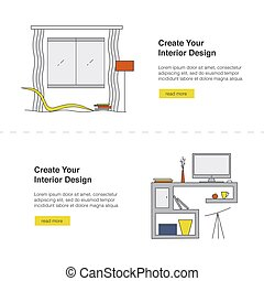 Your Interior Design Web banner set. Modern home design template with illustrations. Living room and workspace in high tech style.