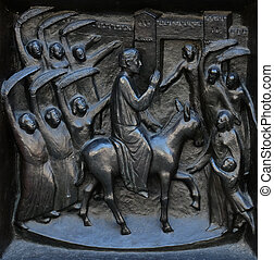 """Your kingdom come - move into Jerusalem, relief on the door of the Grossmunster (""""great minster"""") church in Zurich, Switzerland"""
